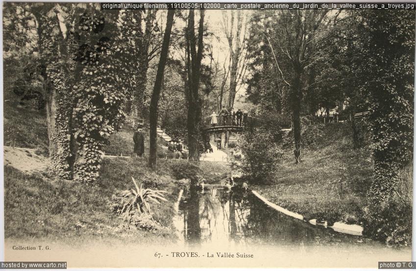 carte postale ancienne du jardin de la vall e suisse troyes anciennes cartes postales de. Black Bedroom Furniture Sets. Home Design Ideas