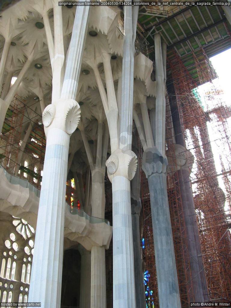 colonnes de la nef centrale de la sagrada fam lia. Black Bedroom Furniture Sets. Home Design Ideas