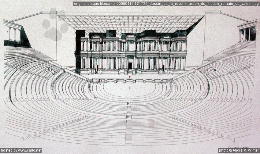 Dessin de la reconstruction du th tre romain de vaison - Dessin de theatre ...