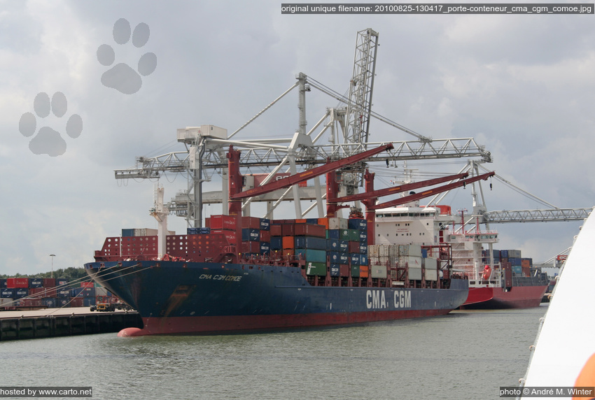 Porte conteneur cma cgm comoe port de rotterdam ao t 2010 for Porte conteneur