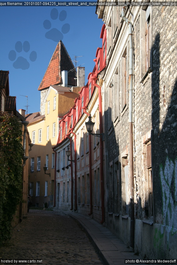 Kooli street and nunnadetagune torn in the tallinn town wall