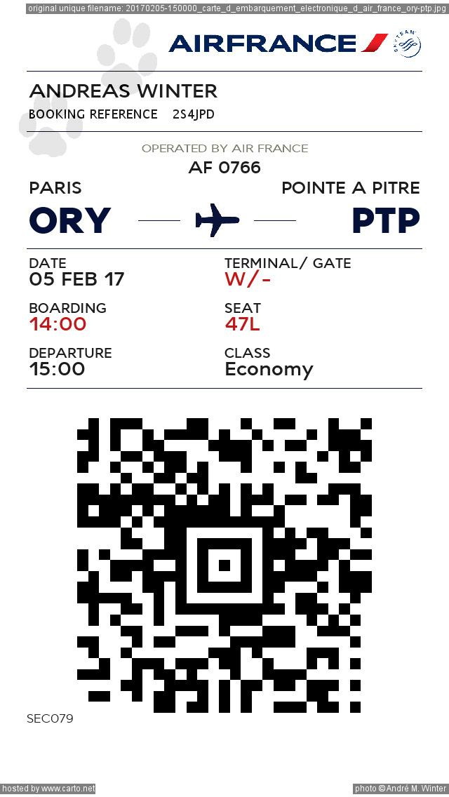 carte d embarquement air france Carte d'embarquement électronique d'Air France ORY PTP (Clichés