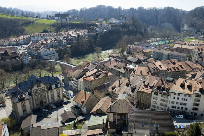Fribourg view from restaurant h tel de ville towards for Piscine fribourg