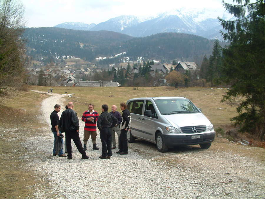 Group Picture With Our Rental Car In The Back Stara Fuzina